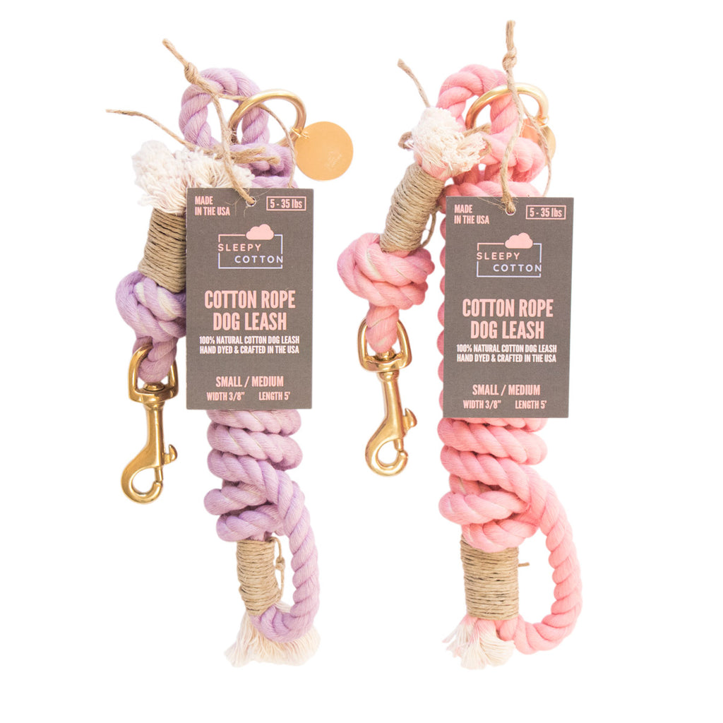 Sleepy Cotton 100% Cotton Rope Dog Leash - Handmade in the USA - Cotton Candy Set