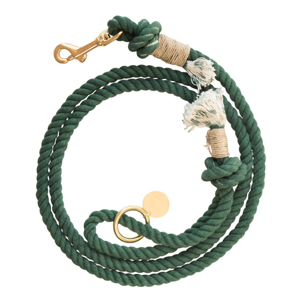 Sleepy Cotton 100% Cotton Rope Dog Leash - Handmade in the USA - Dark Green