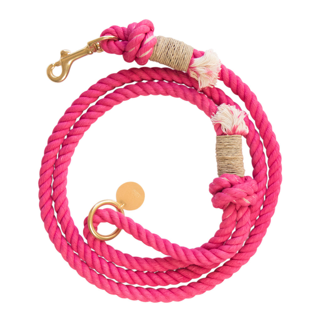 Sleepy Cotton 100% Cotton Rope Dog Leash - Handmade in the USA - Hot Pink