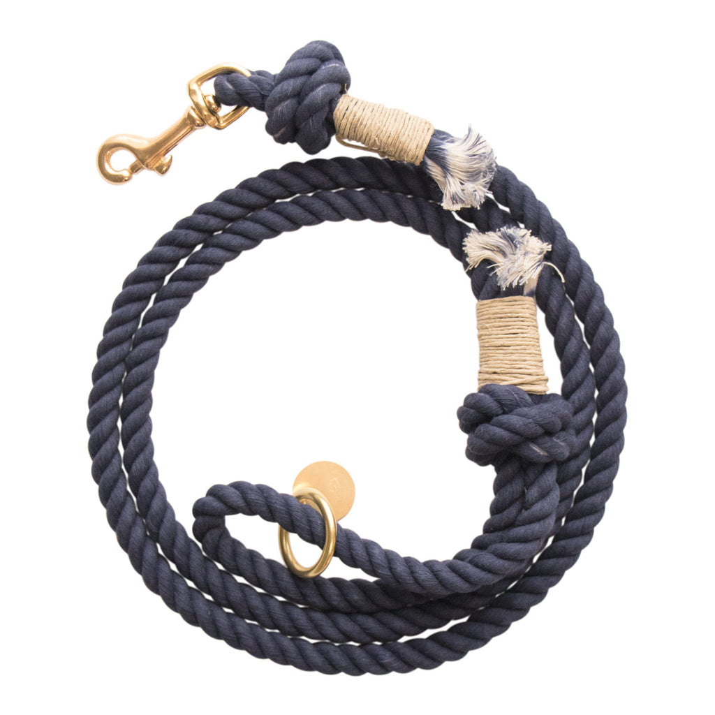 Sleepy Cotton 100% Cotton Rope Dog Leash - Handmade in the USA - Navy