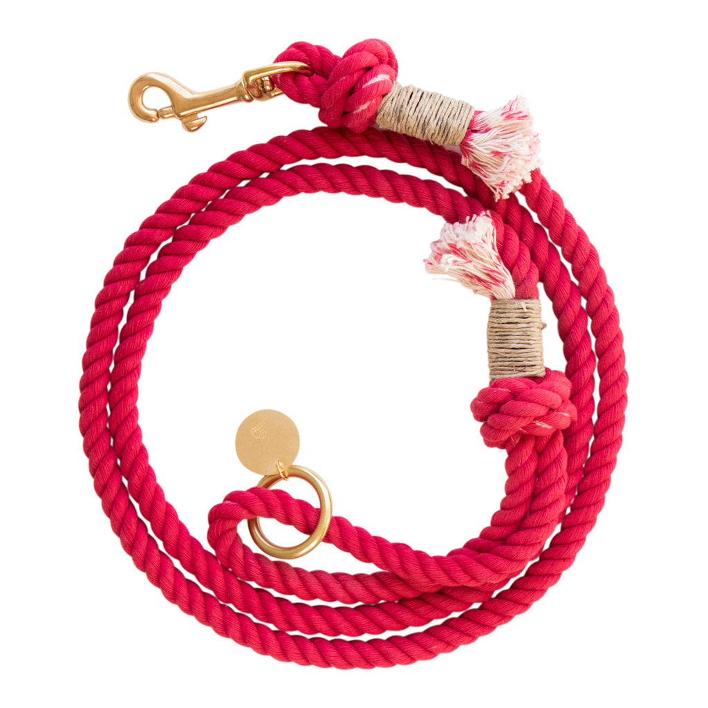 Cotton Rope Dog Leash - Red