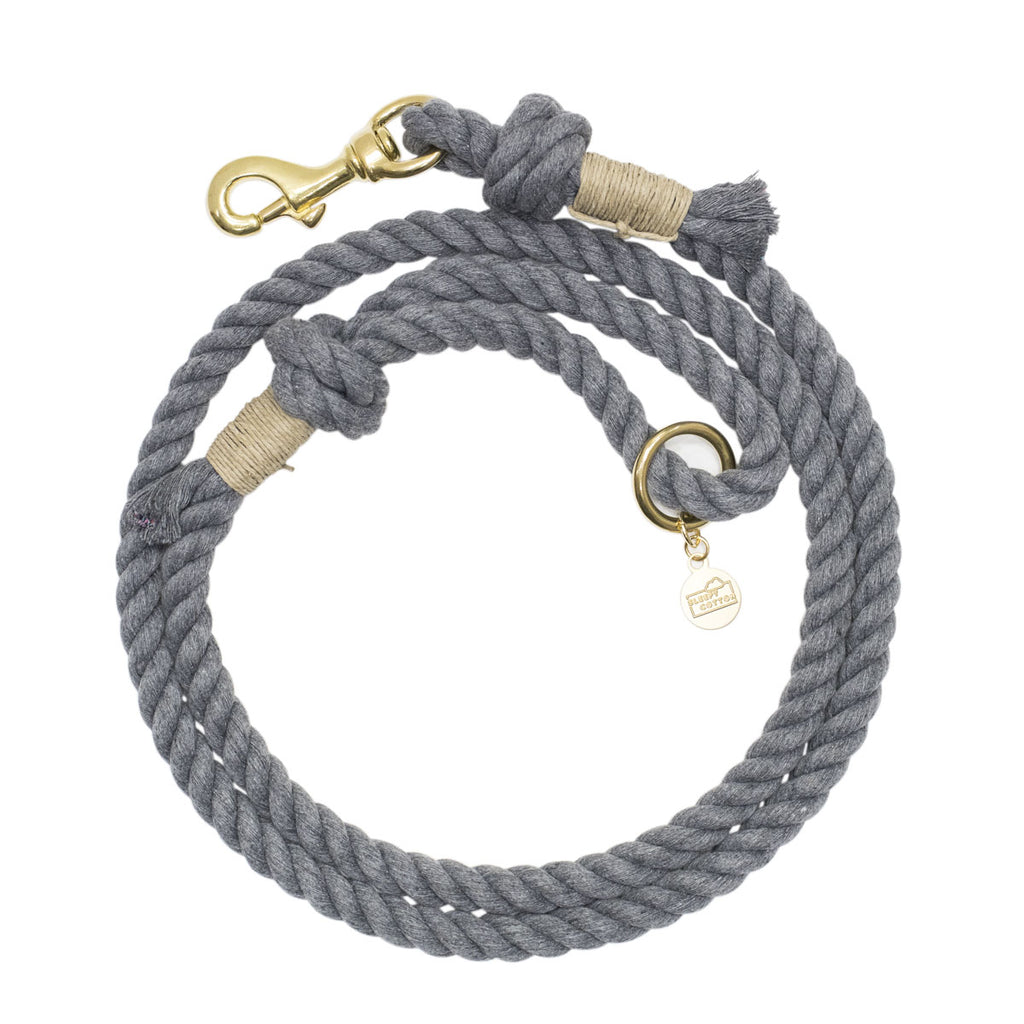 Upcycled Core Cotton Rope Dog Leash - Grey