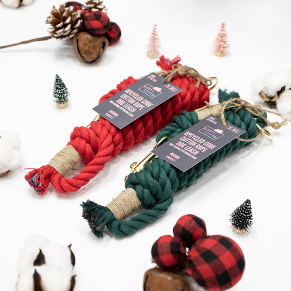 Upcycled Core Cotton Rope Dog Leash - Christmas Set