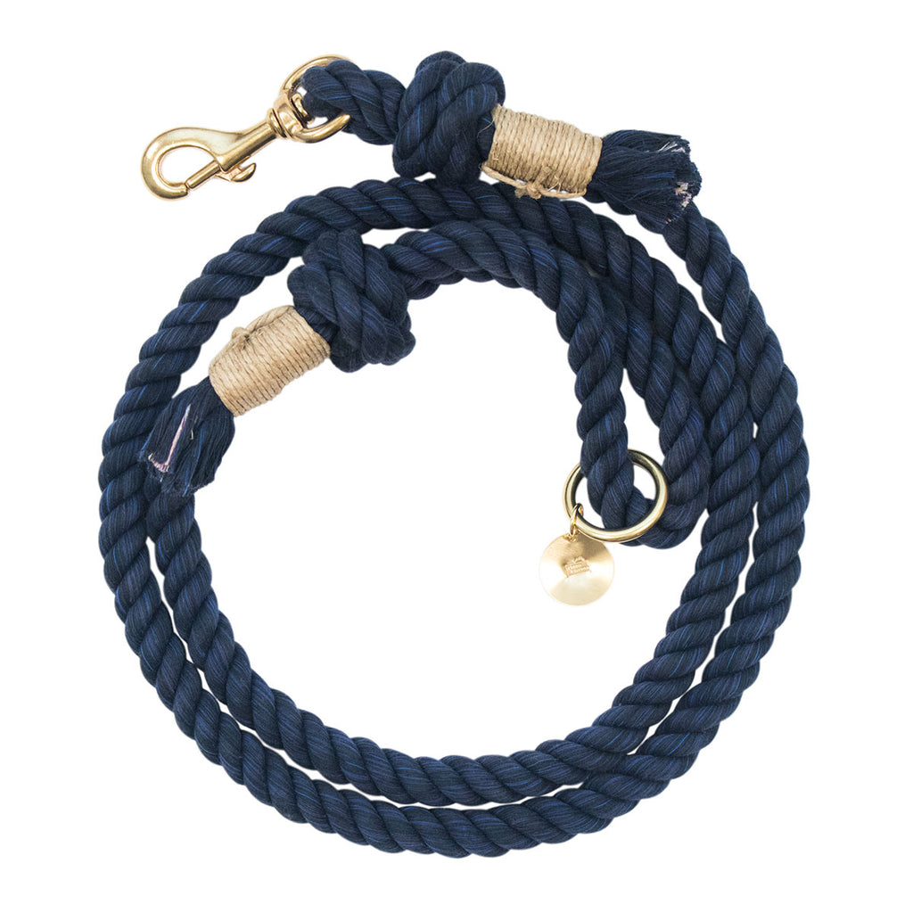 Upcycled Core Cotton Rope Dog Leash - Navy