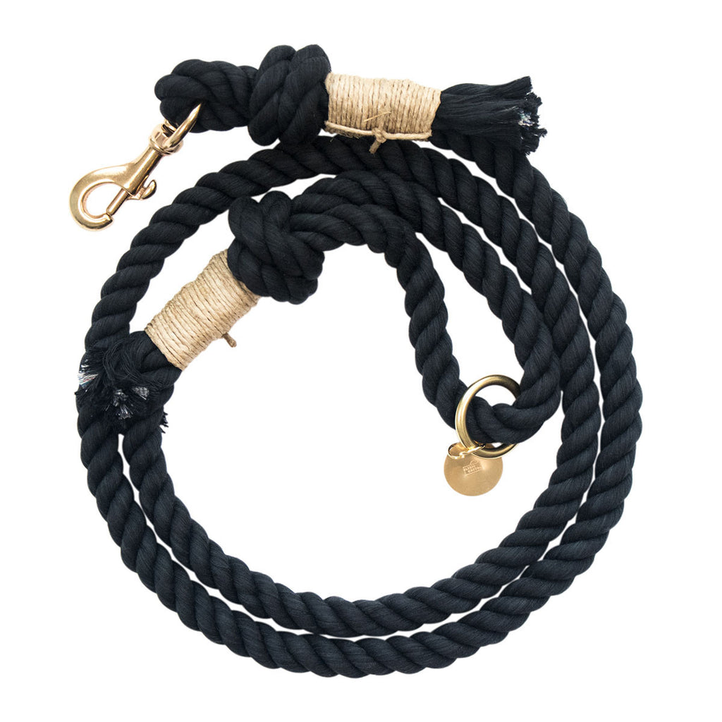 Upcycled Core Cotton Rope Dog Leash - Black
