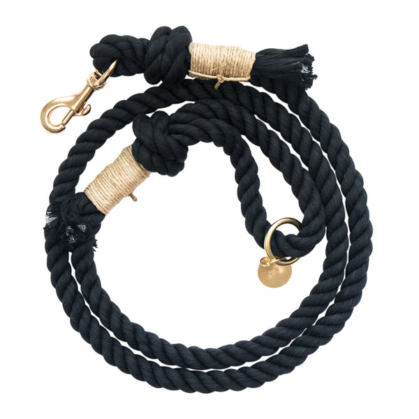 Upcycled Core Cotton Rope Dog Leash - Black (Ambassador)