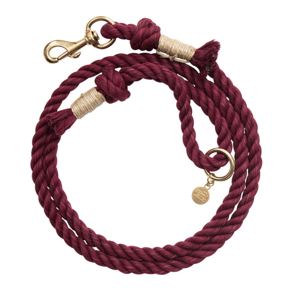 Upcycled Core Cotton Rope Dog Leash - Maroon (Ambassador)