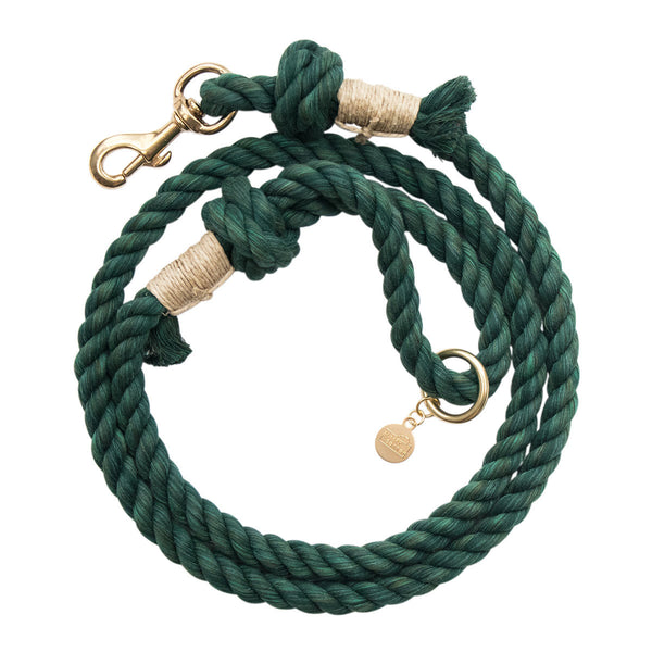 Upcycled Core Cotton Rope Dog Leash - Dark Green