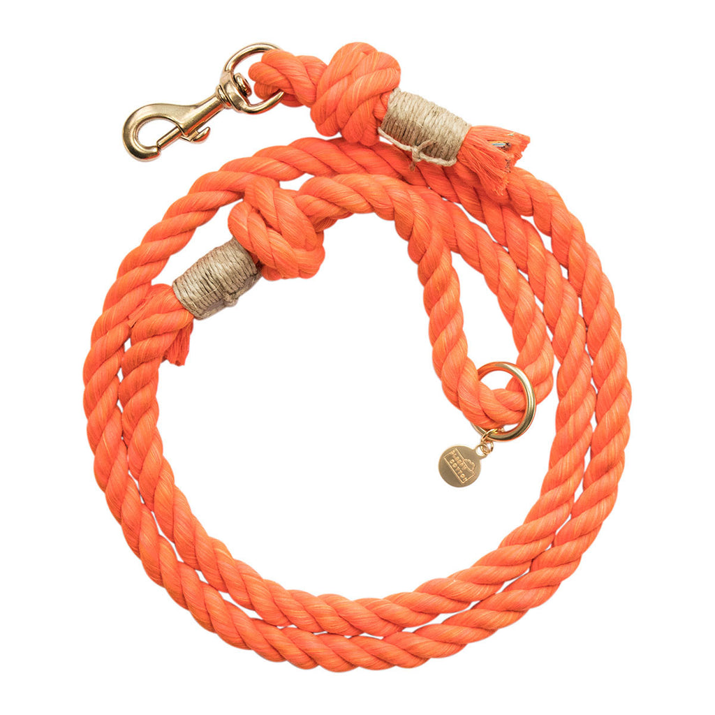 Upcycled Core Cotton Rope Dog Leash - Orange