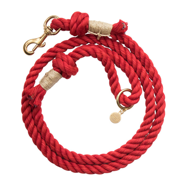 Upcycled Core Cotton Rope Dog Leash - Red