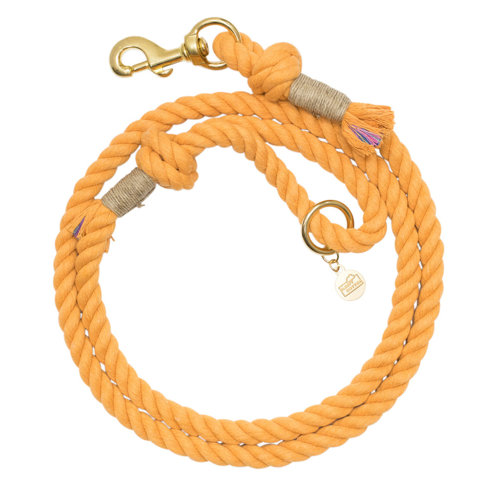 Upcycled Core Cotton Rope Dog Leash - Vintage Orange