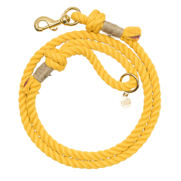 Upcycled Core Cotton Rope Dog Leash - Yellow