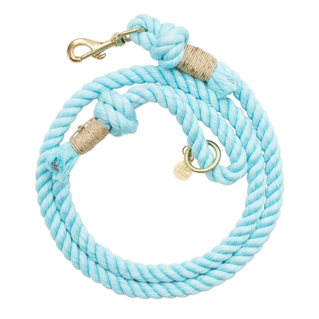 Upcycled Core Cotton Rope Dog Leash - Aqua