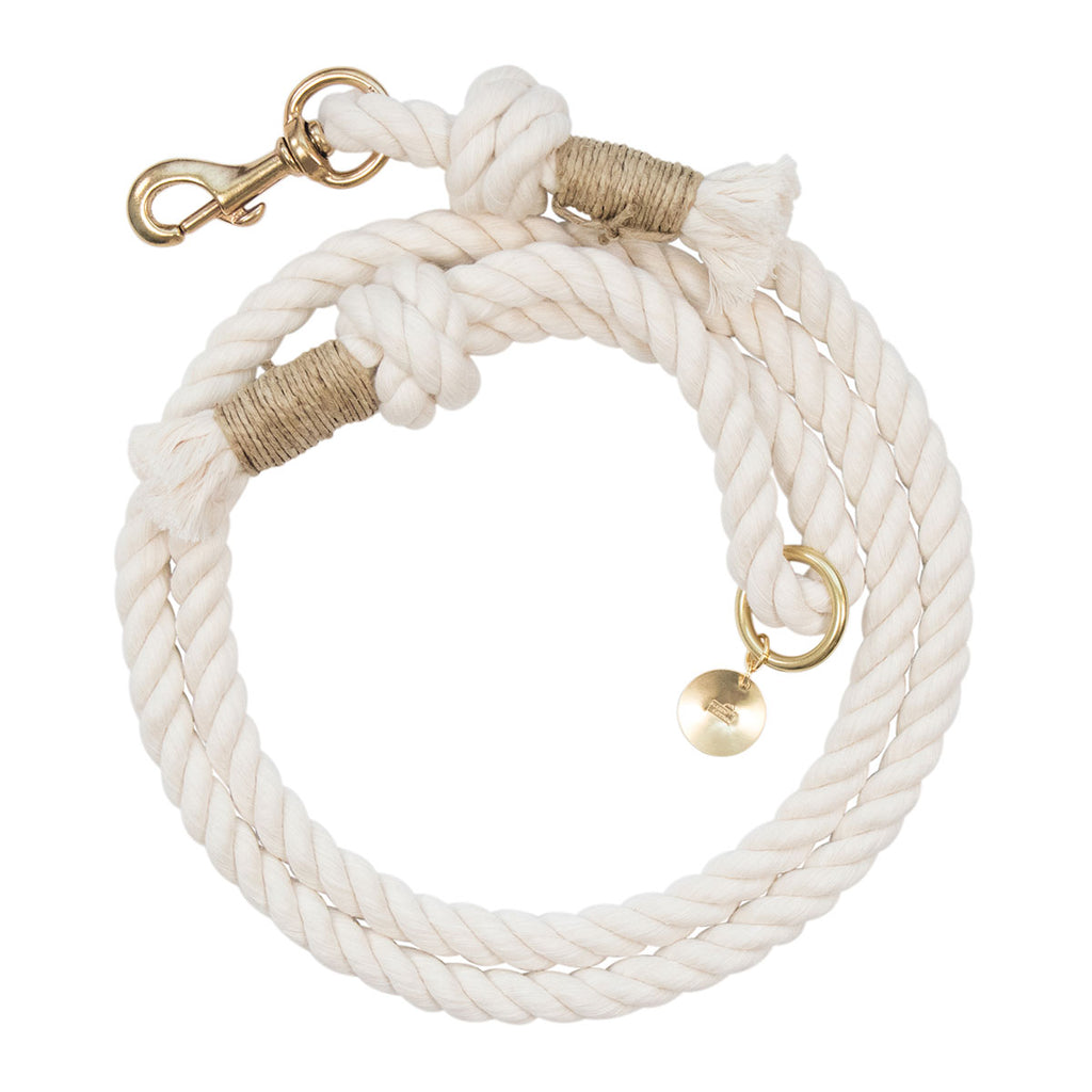 Upcycled Core Cotton Rope Dog Leash - Beige