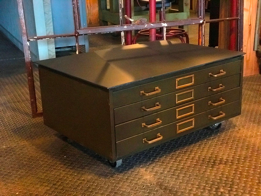 Antique blueprintmap cabinet coffee table slate top and casters antique blueprintmap cabinet malvernweather Choice Image