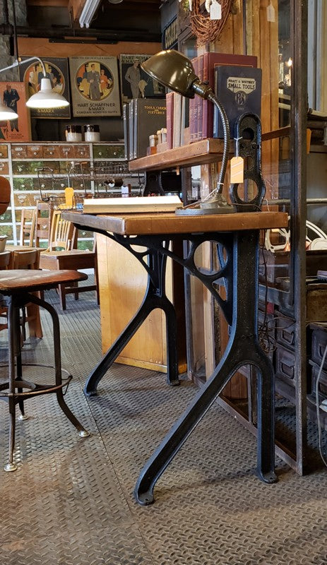 PAIR   Vintage Cast iron Butcher block top Desk and Wrought Cast window w/arch