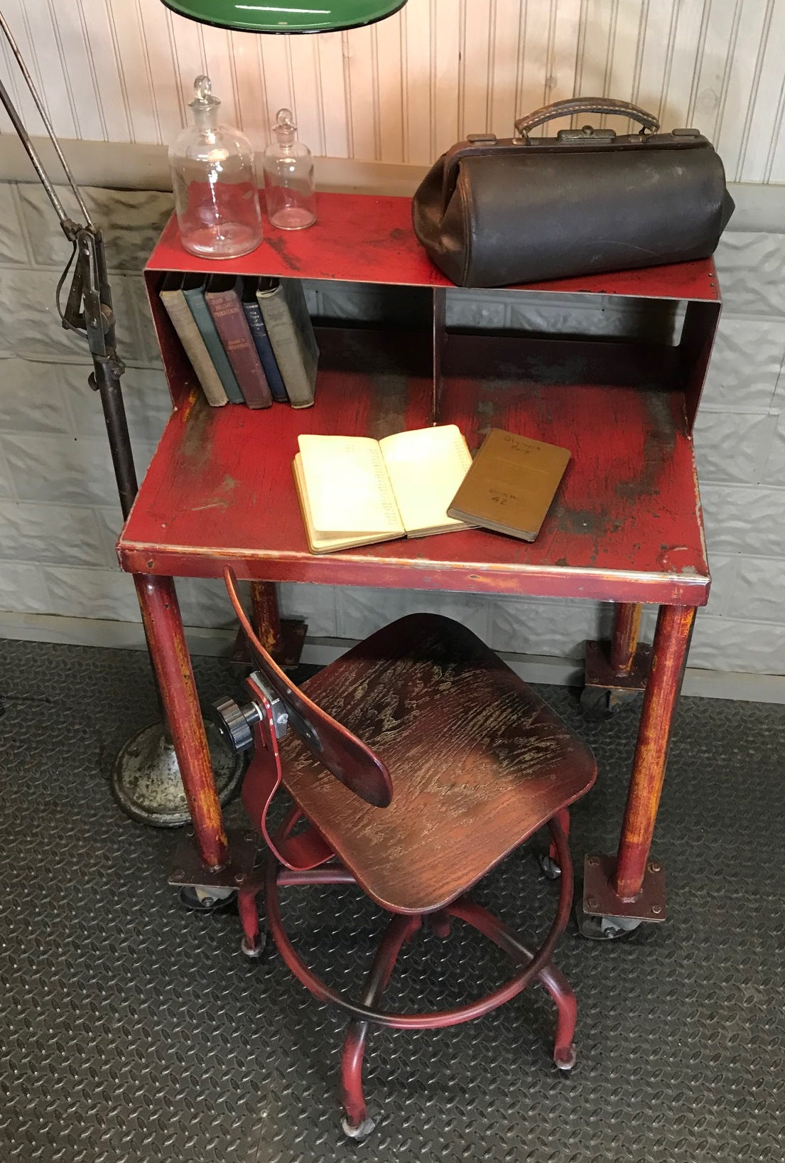 vintage industrial steel desk and drafting chair