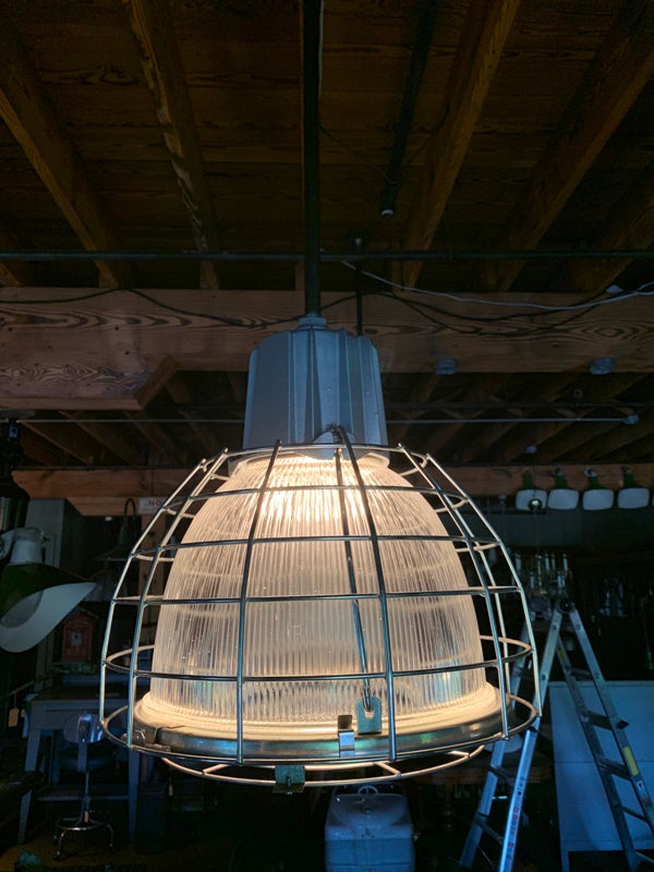 "Holophane Style Light Fixture  Industrial Glass Large 19"" Cage"