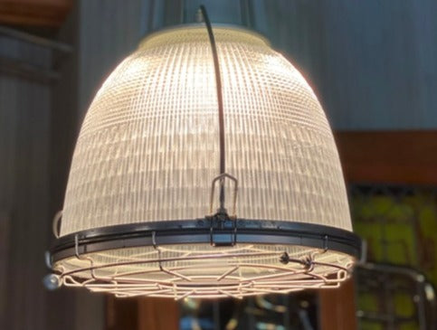 vintage industrial holphane light fixture