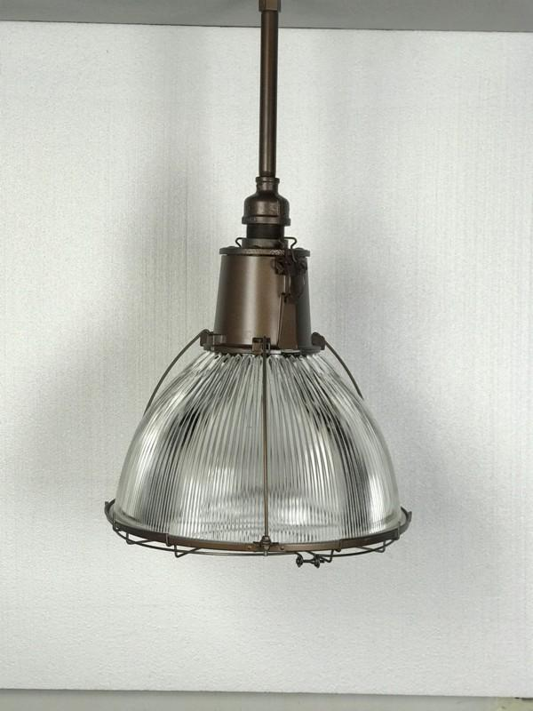 "Holophane Light Fixture~ Industrial Glass Large 18"" Diameter"