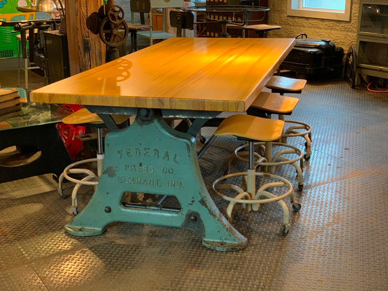 Antique Industrial Cast Iron Leg Table W/6 Stools  Re-purposed Machine Base