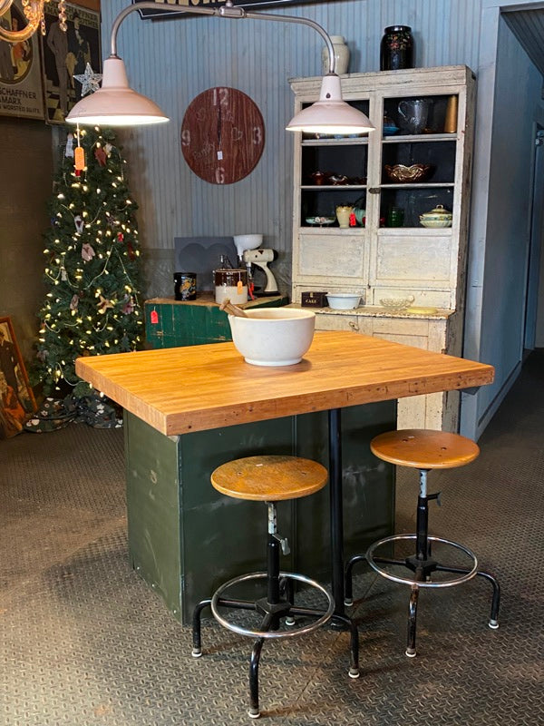 Industrial Butcherblock Kitchen Island Cabinet