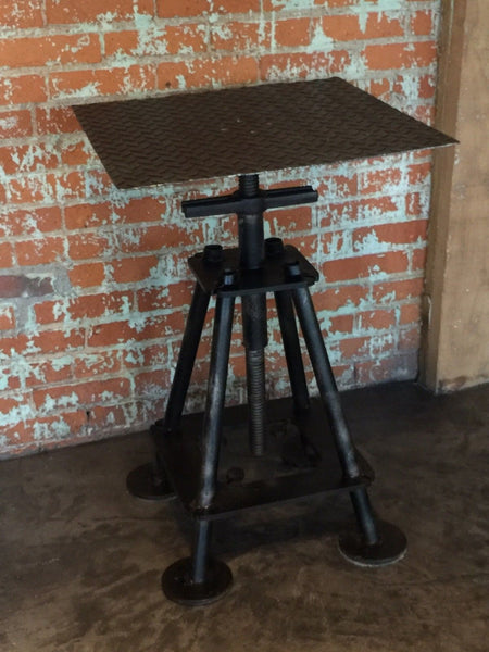Industrial Repurposed End Table Stand Re Purposed Vintage Salvage Steampunk Loft