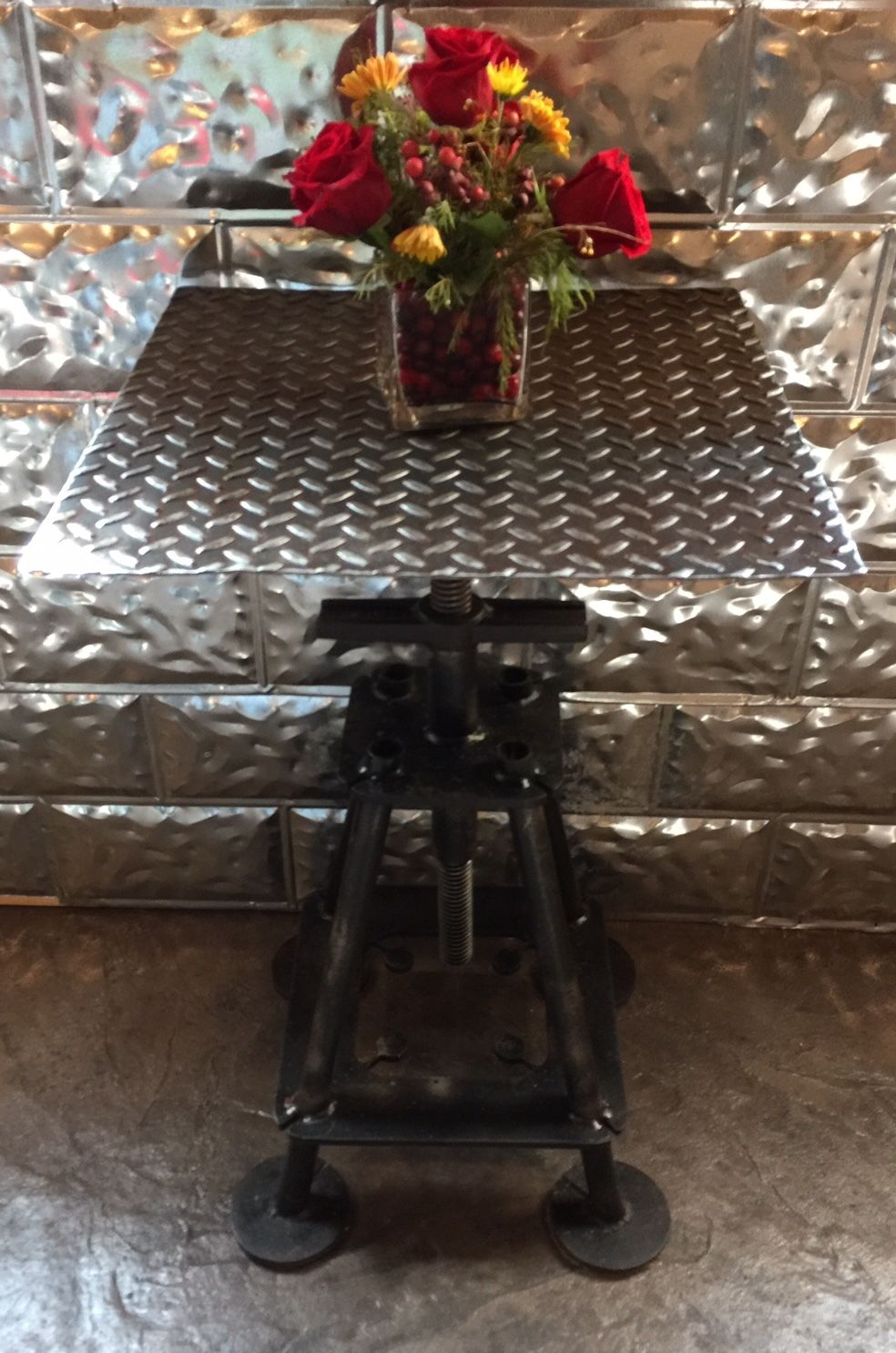 upcycled industrial table adjustable