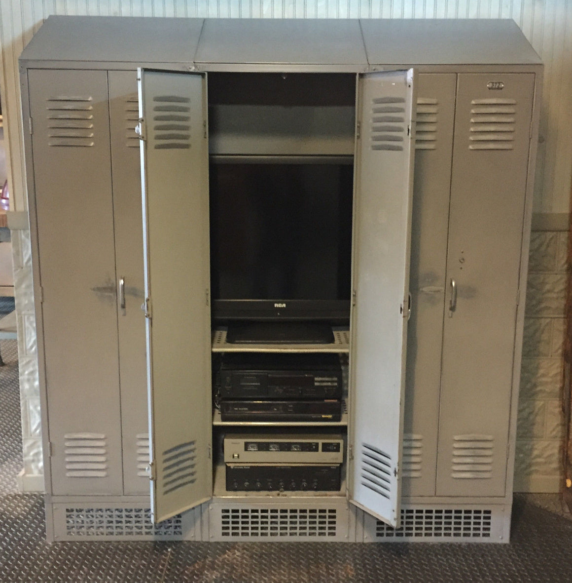 upcycled gym lockers entertainment center