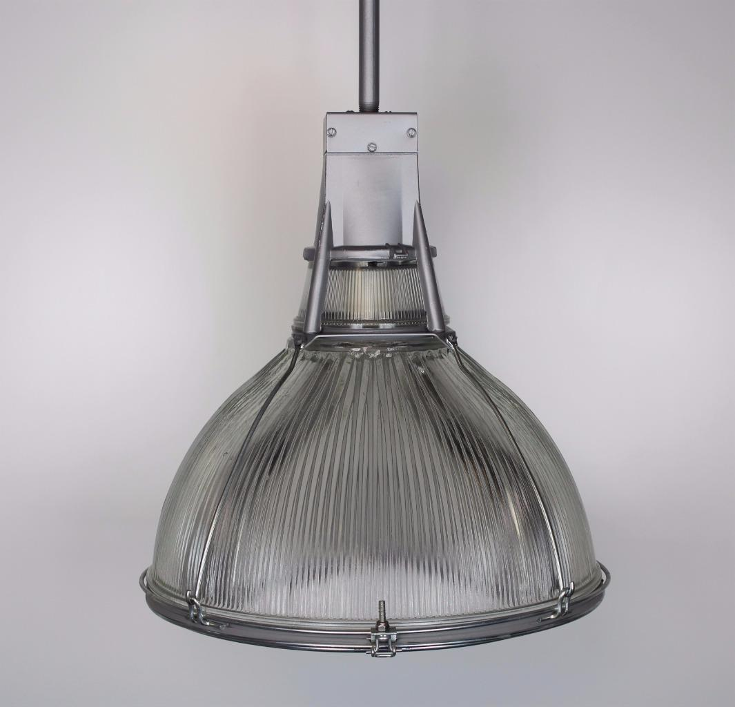 "Vintage Industrial Light Fixture 18"" Holophane Glass Shade"