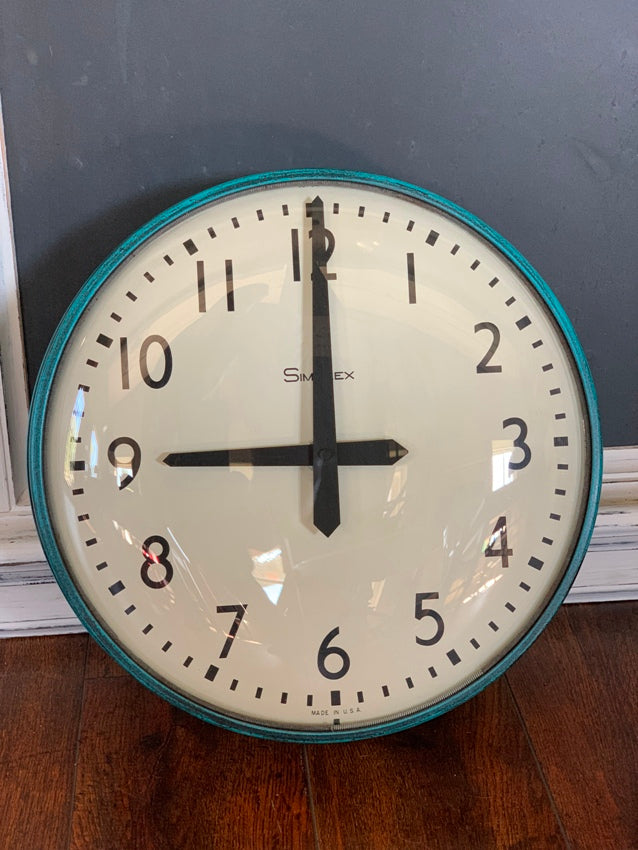 "Vintage Simplex 14"" Industrial Wall Clock Aqua/Black Battery Converted"