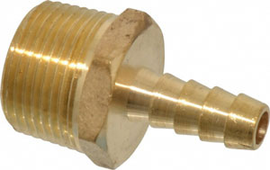 "HOSE BARB 3/8"" WITH 3/4"" NPT MALE THREADS, BRASS - 5346K87"