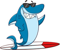 PAPER TRANSFER SHARK WITH SURFBOARD - PT-SHARKEY
