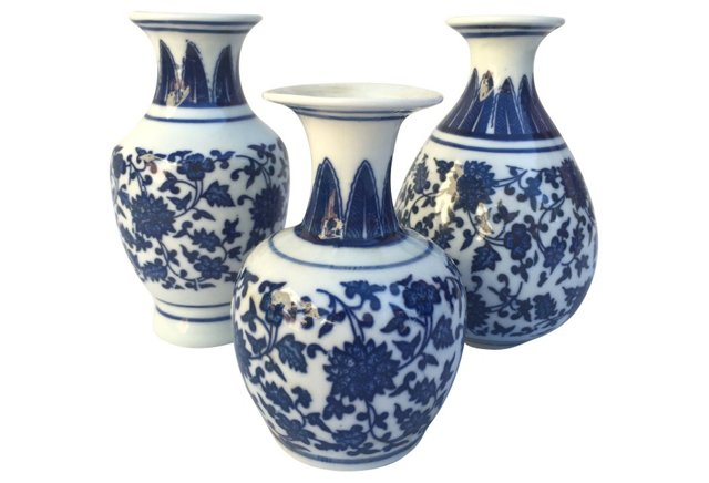 Asian Floral Vases Set of Three