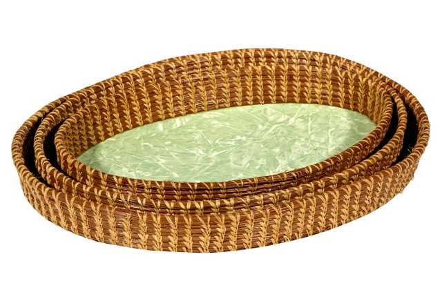 Oval Rattan Serving Trays