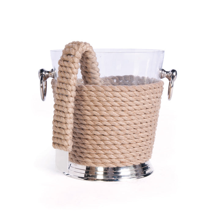 Rope Wrapped Coastal Ice Bucket & Tongs - Danielle D Rollins
