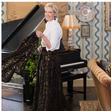 Cecil Skirt in Black Velvet and Gold Lurex - Danielle D Rollins