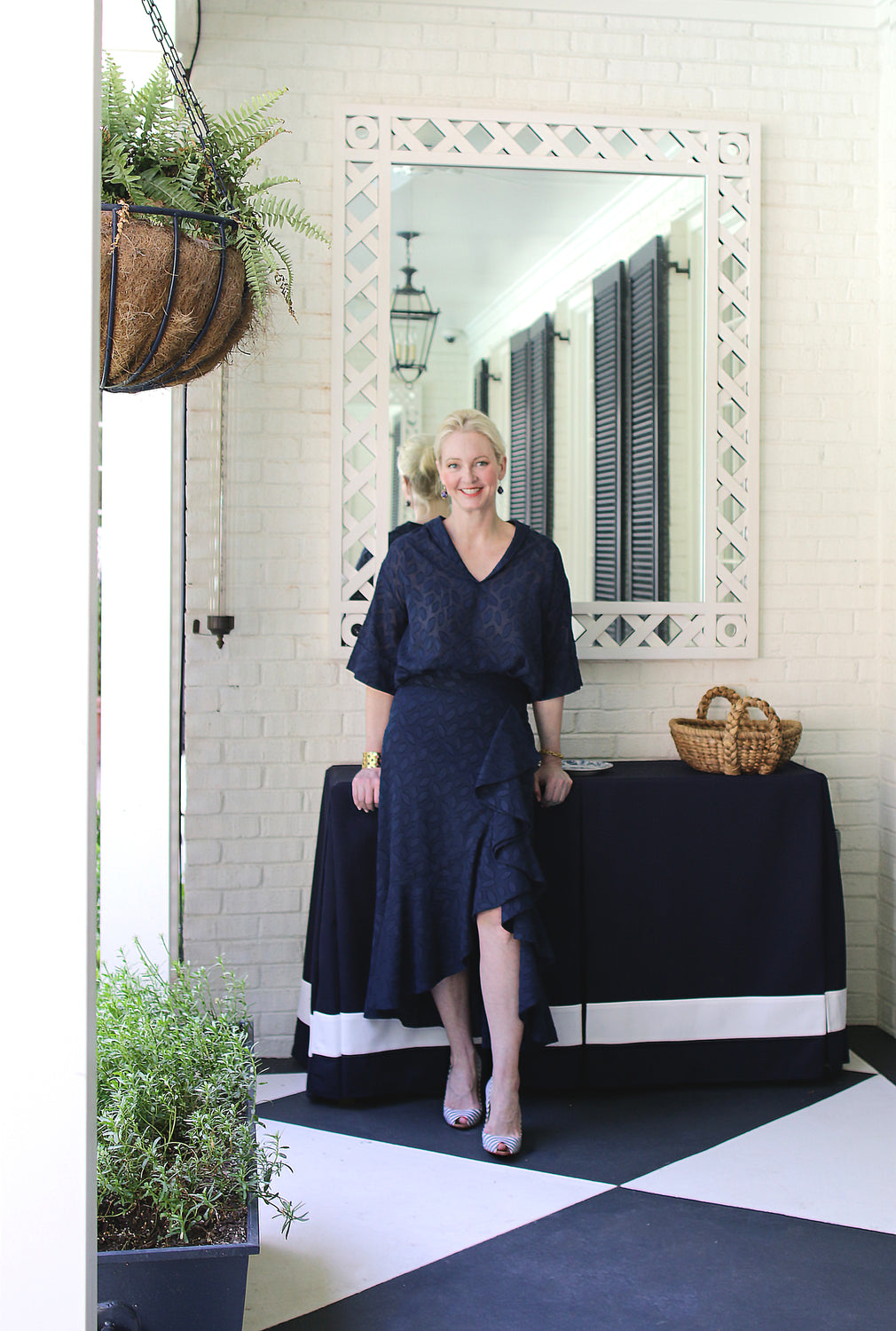 Bettina Skirt Navy Fil Coupe - Danielle D Rollins