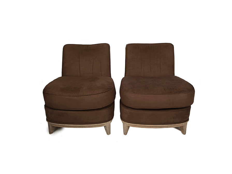 French Deco Chocolate Suede Slipper Chairs - Danielle D Rollins