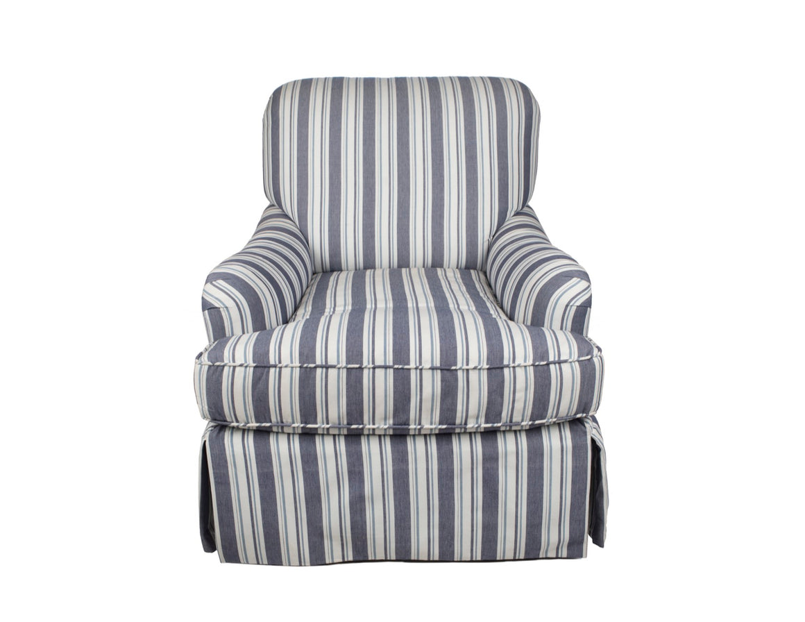 Blue and Ivory Upholstered Armchair - Danielle D Rollins