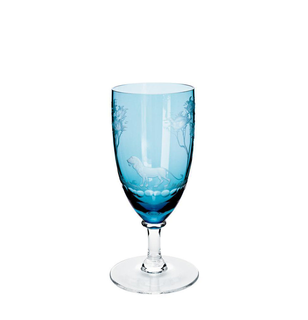 Mouth-Blown Aquamarine Wine Glass with Engraved Lion - Danielle D Rollins