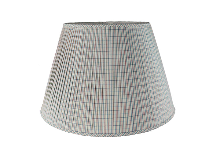 Tattersal Window Pane Silk Lamp Shade in Soft Red - Danielle D Rollins