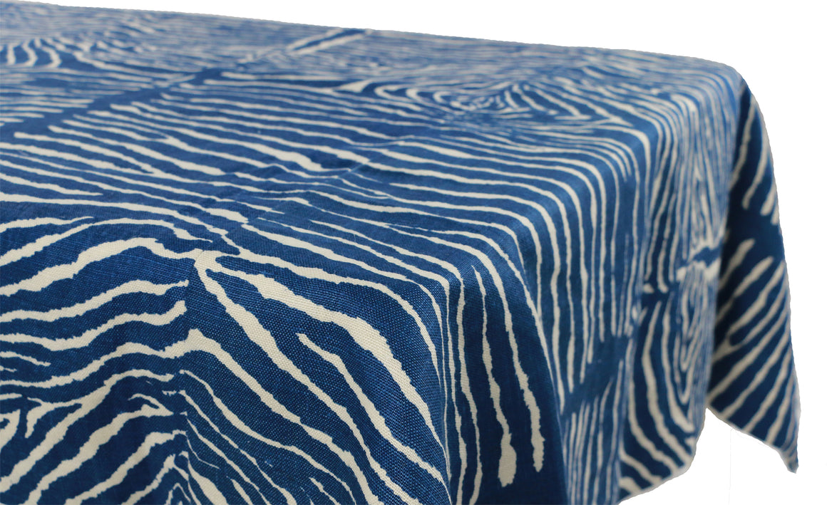 Brunschwig & Fils Le Zebre Indigo Tailored Table Cloth - Danielle D Rollins