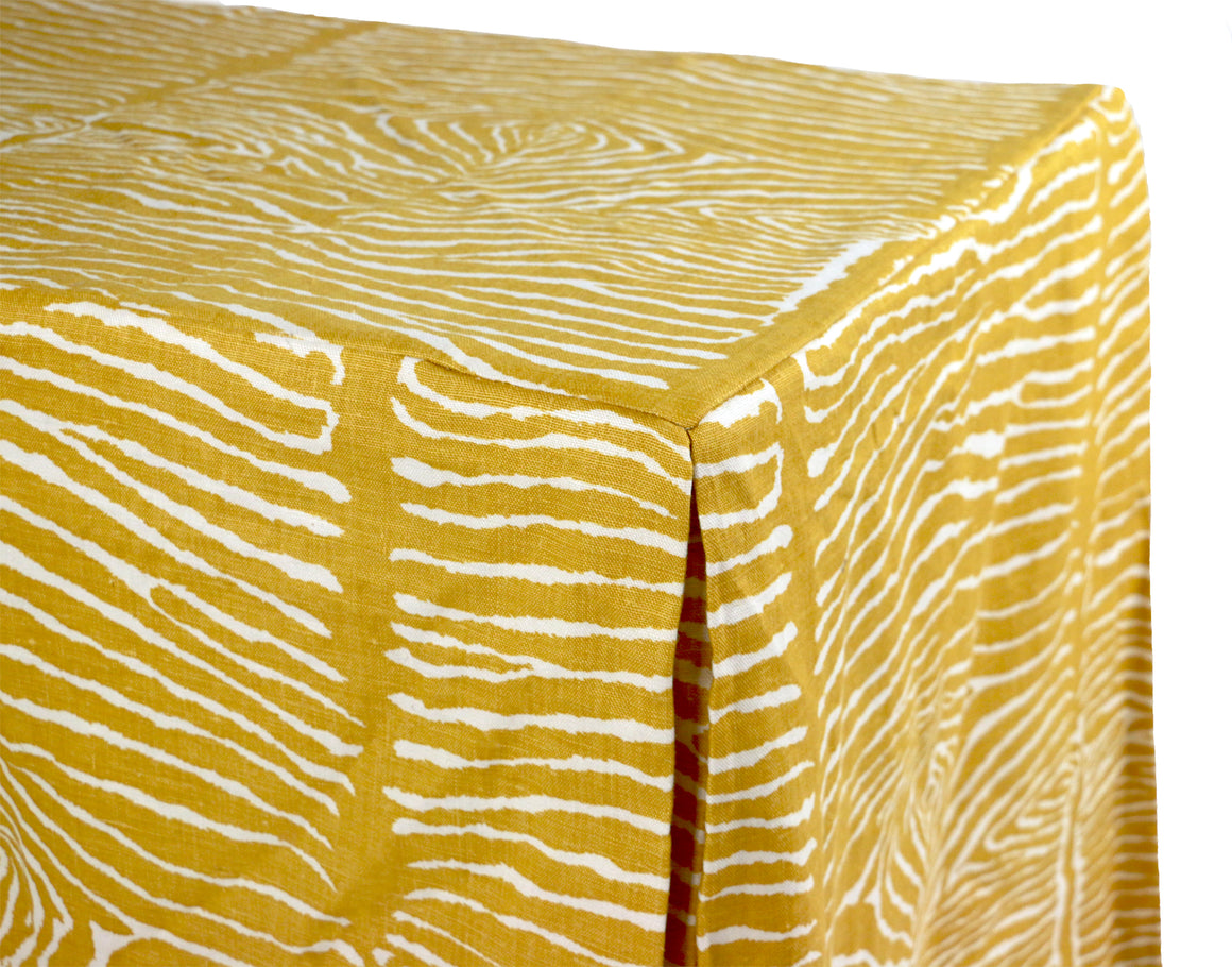 Brunschwig & Fils Le Zebre Saffron Tailored Table Cloth - Danielle D Rollins