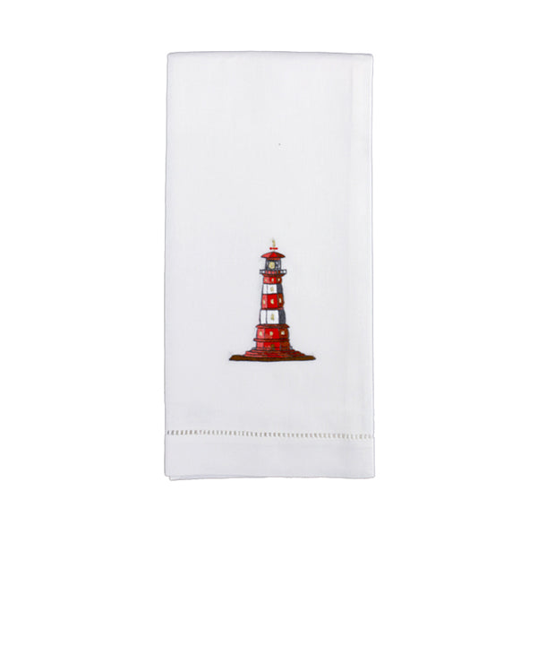 Set of 4 Hand Embroidered Lighthouse Hand Towels - Danielle D Rollins