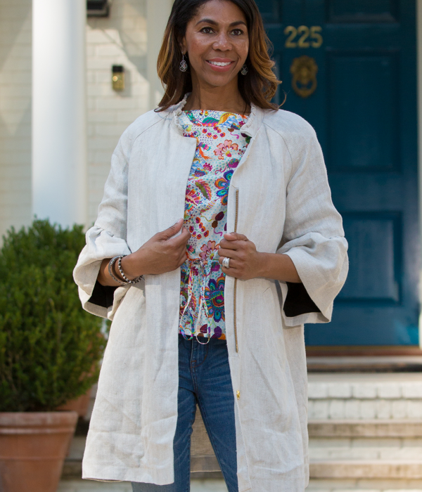 Lilly Jacket in Herringbone Linen - Danielle D Rollins
