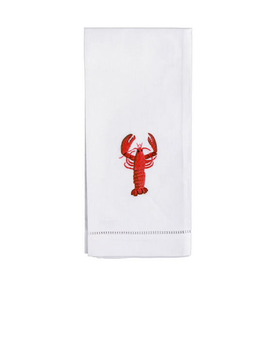 Set of 4 Hand Embroidered Lobster Hand Towels - Danielle D Rollins