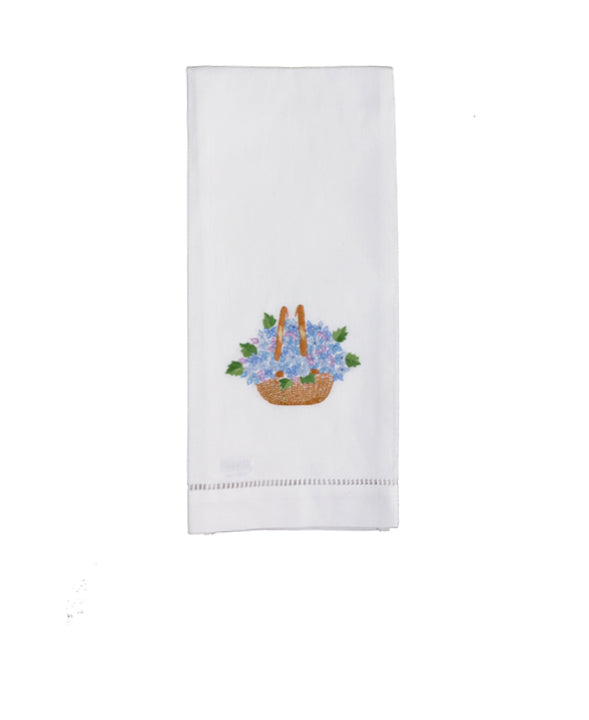 Set of 4 Hand Embroidered Nantucket Basket Hand Towels - Danielle D Rollins