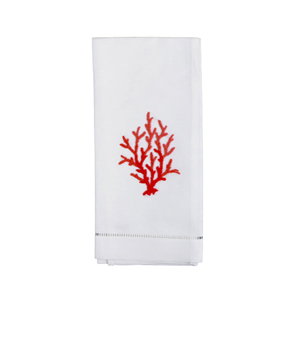 Set of 4 Hand Embroidered Coral Knot Hand Towels
