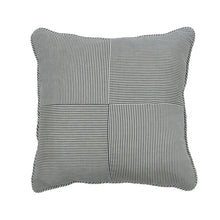 "22"" Midnight and Ivory Silk Wool Ticking Stripe Windmill Fabrication Pillow - Danielle D Rollins"